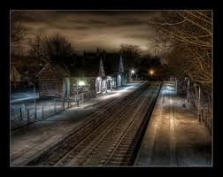 Station in Midwinter at Midnight
